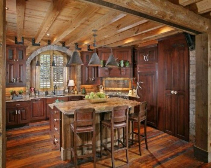 Log Home Kitchen absence of appliances-hidden of course!