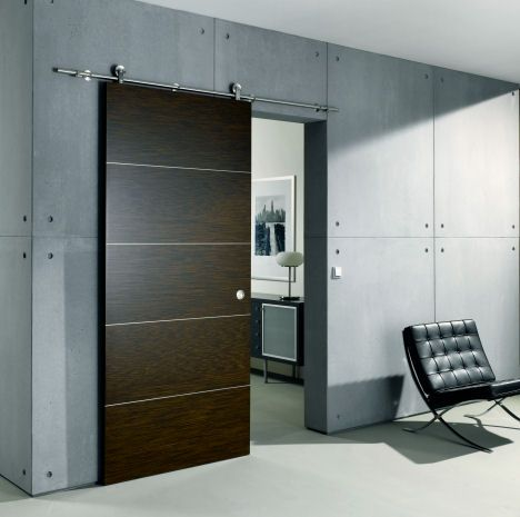 Contemporary Sliding Door From Bartels An Exposed Stainless Steel Rail System Modern Exterior Doors Door Design Modern Doors Interior Modern