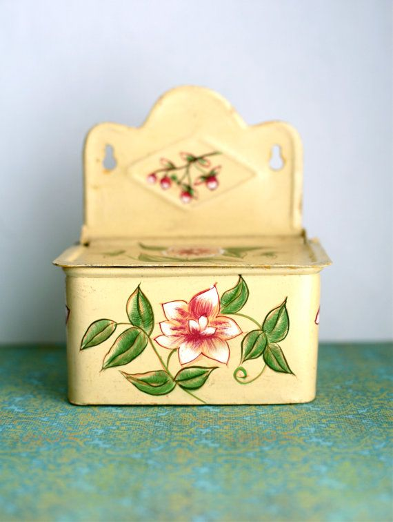Yellow Salt Box Painted Flower Rustic Cottage by ForestDaydream, $18.00