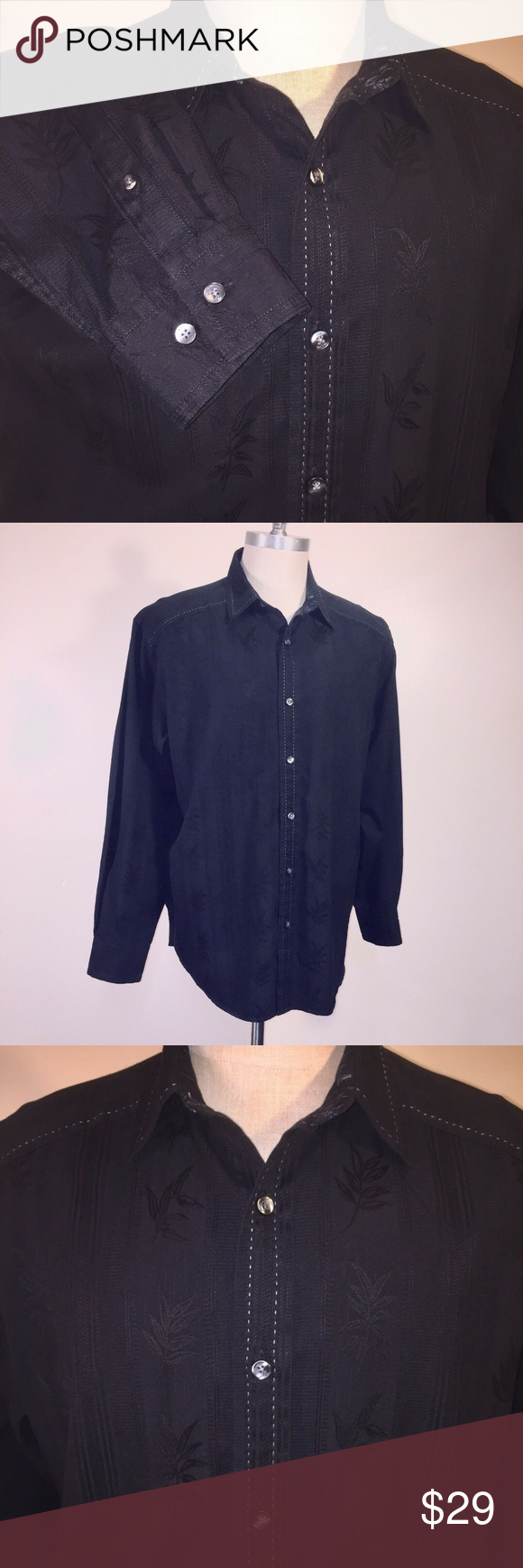591e8569 Tommy Bahama Hawaiian Shirt Black Embroidered Tommy Bahama Button Up, Hawaiian  Shirt Men's L Black
