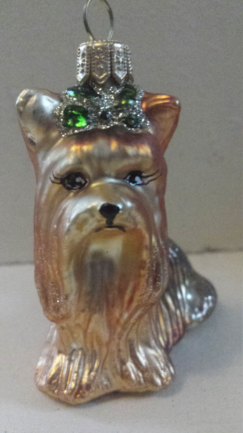 Blown Glass Yorkie Terrier Dog Green Bow Christmas Tree Green Bows Yorkie Terrier Christmas Dog