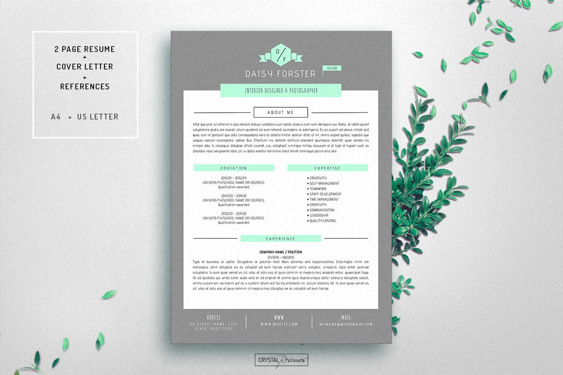 Resume CV Template for Word by CrystalResumes on @creativemarket ...