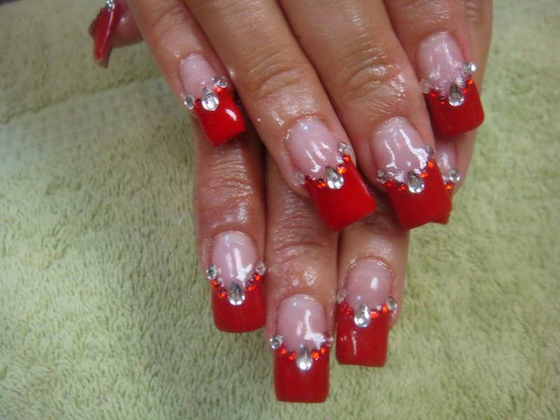 Red Nails Nail Designs With Diamond