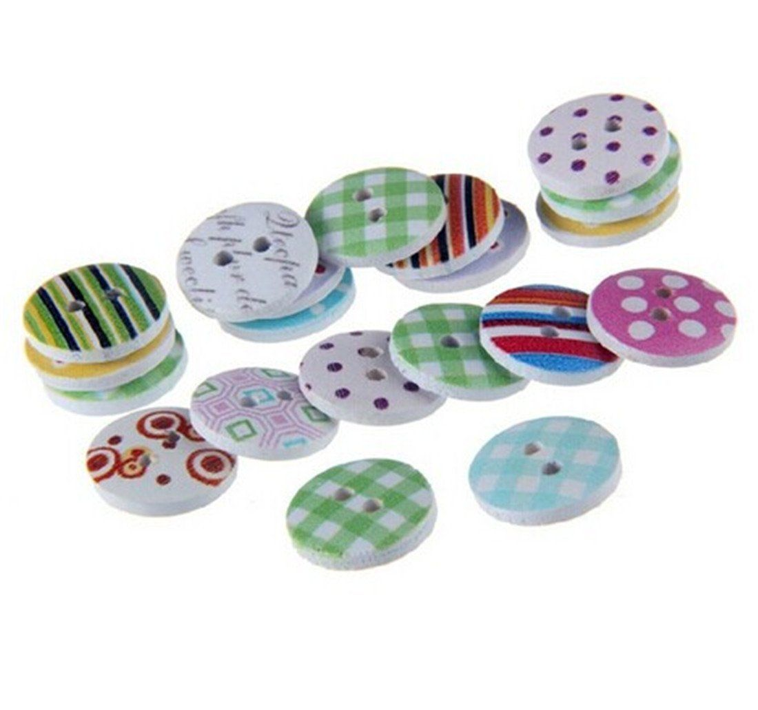 #2 Colorful Wood Buttons 100pcs Colorful Wood Wooden Buttons 2 Holes Sewing Scrapbook Craft DIY Decor Random Pattern