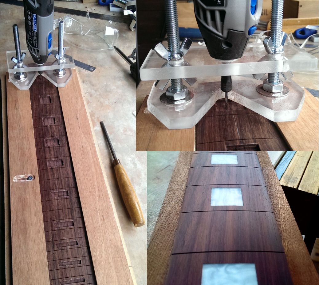 Home made dremel router base for fingerboard inlays