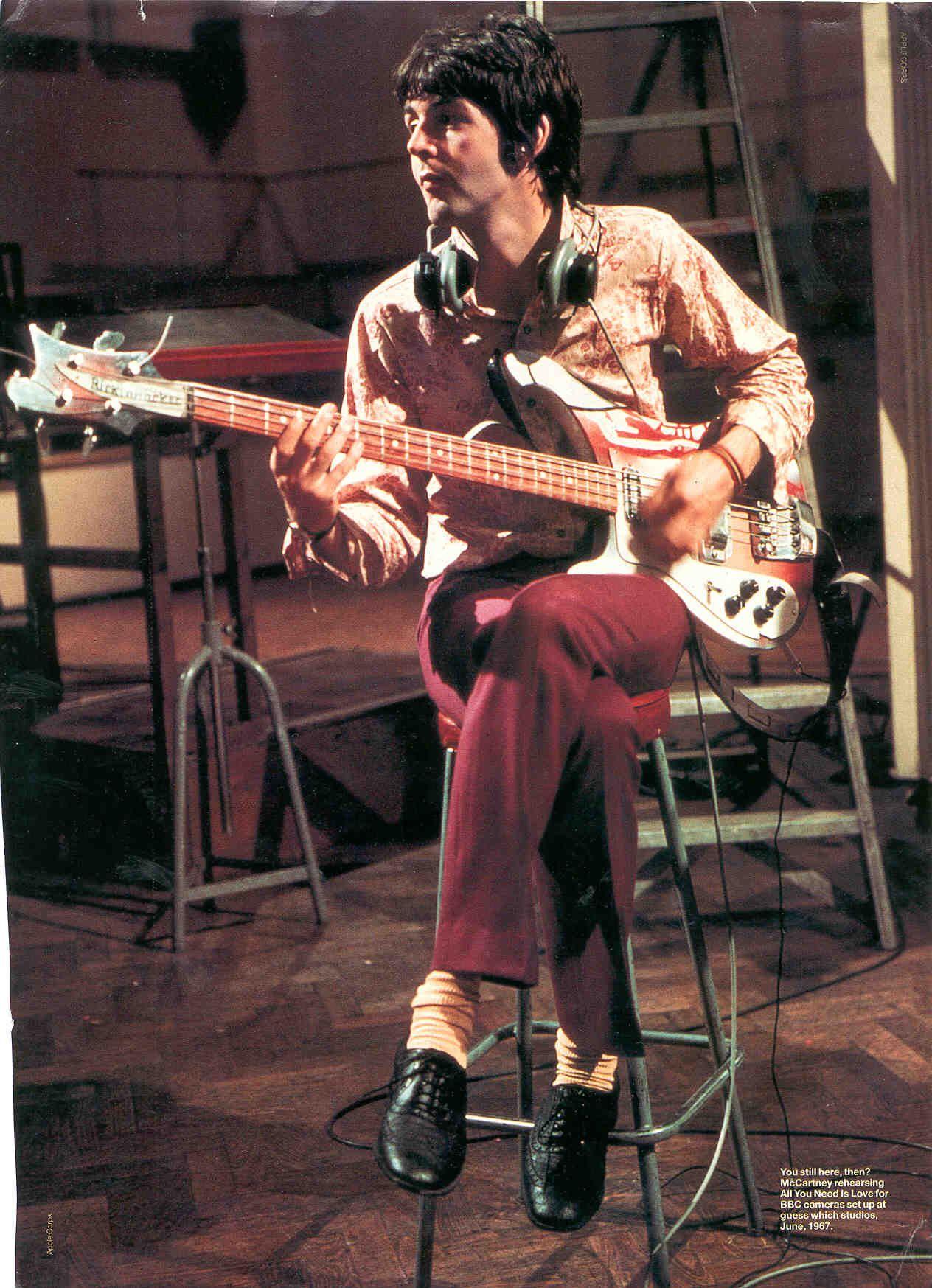 Paul McCartney 1967 Rickenbacker Bass All You Need Is Love Superb Beatles Photo