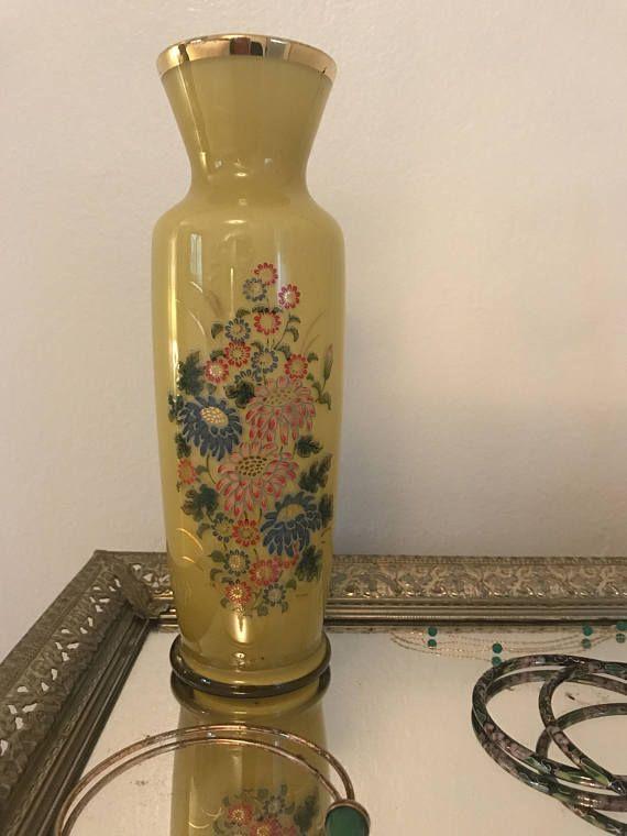 hand-painted flowers & gold leaf, vintage Japan art glass