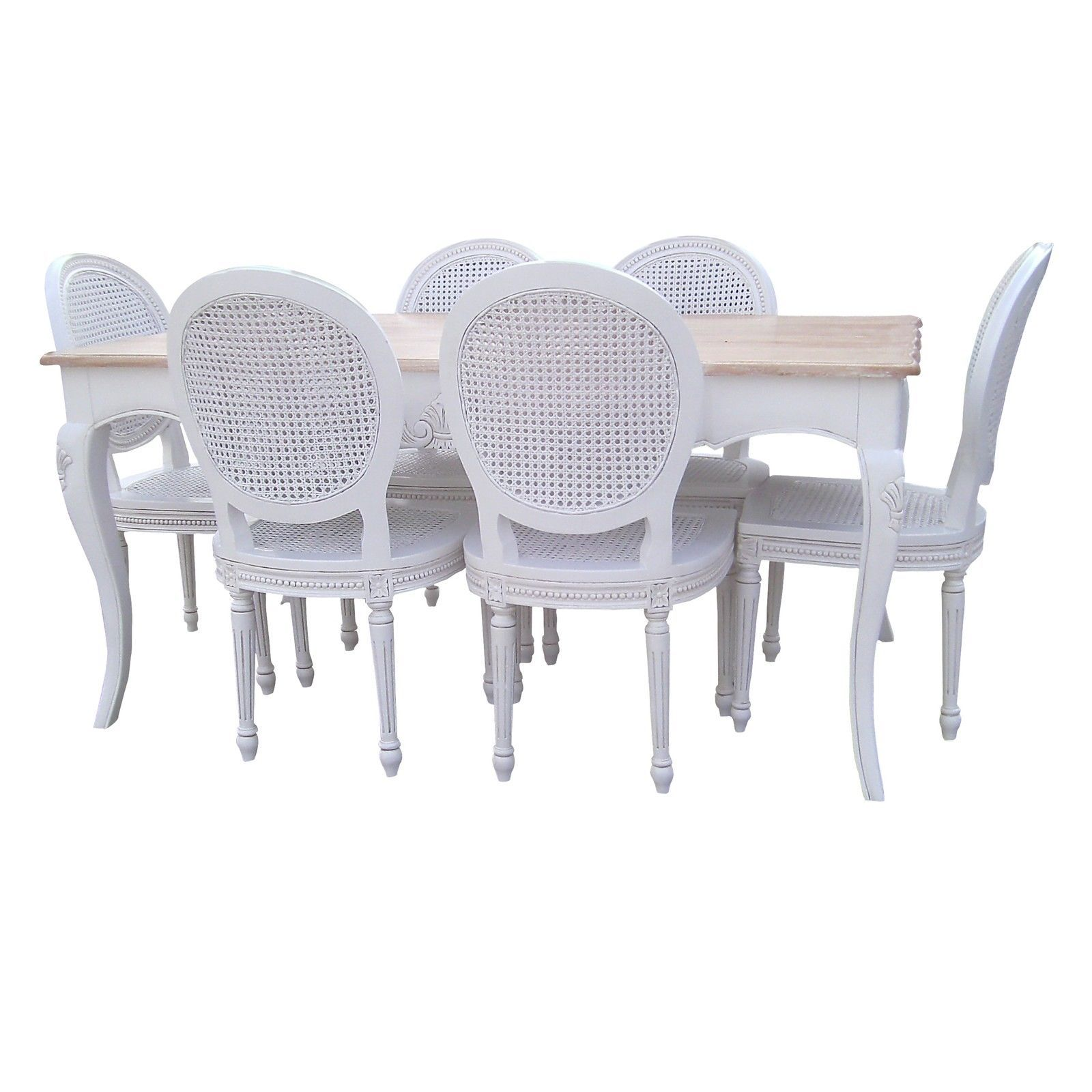 French Chateau White Mahogany Dining Table With Natural White Wash Cool White Dining Room Table And 6 Chairs Decorating Design