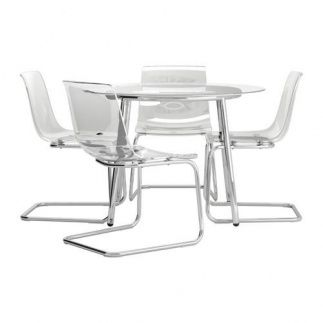 Se vende Mesa con 4 sillas, vidrio, transparente, IKEA SEGUNDA MANO ...