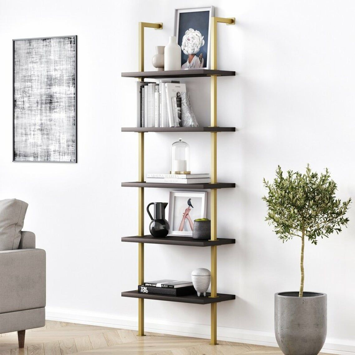 Industrial Ladder Shelf 5 Tier Wood Wall Mounted Bookcase Etsy In 2021 Modern Shelving Wall Mounted Bookshelves Ladder Bookcase Metal and wood ladder shelf