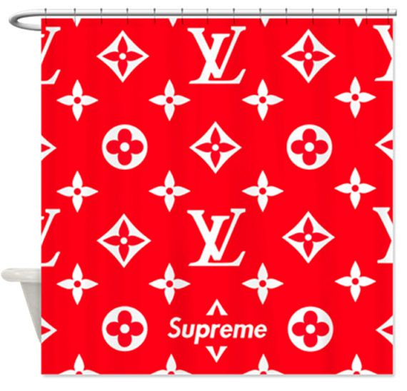 supreme x lv monogram red shower curtain | cali move | pinterest