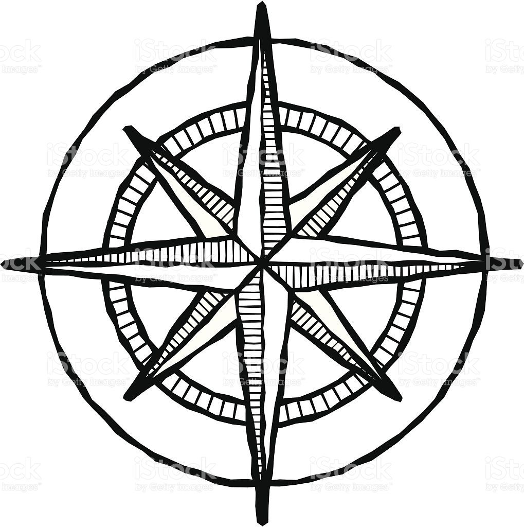 Vector illustration of a compass rose, done in a woodcut