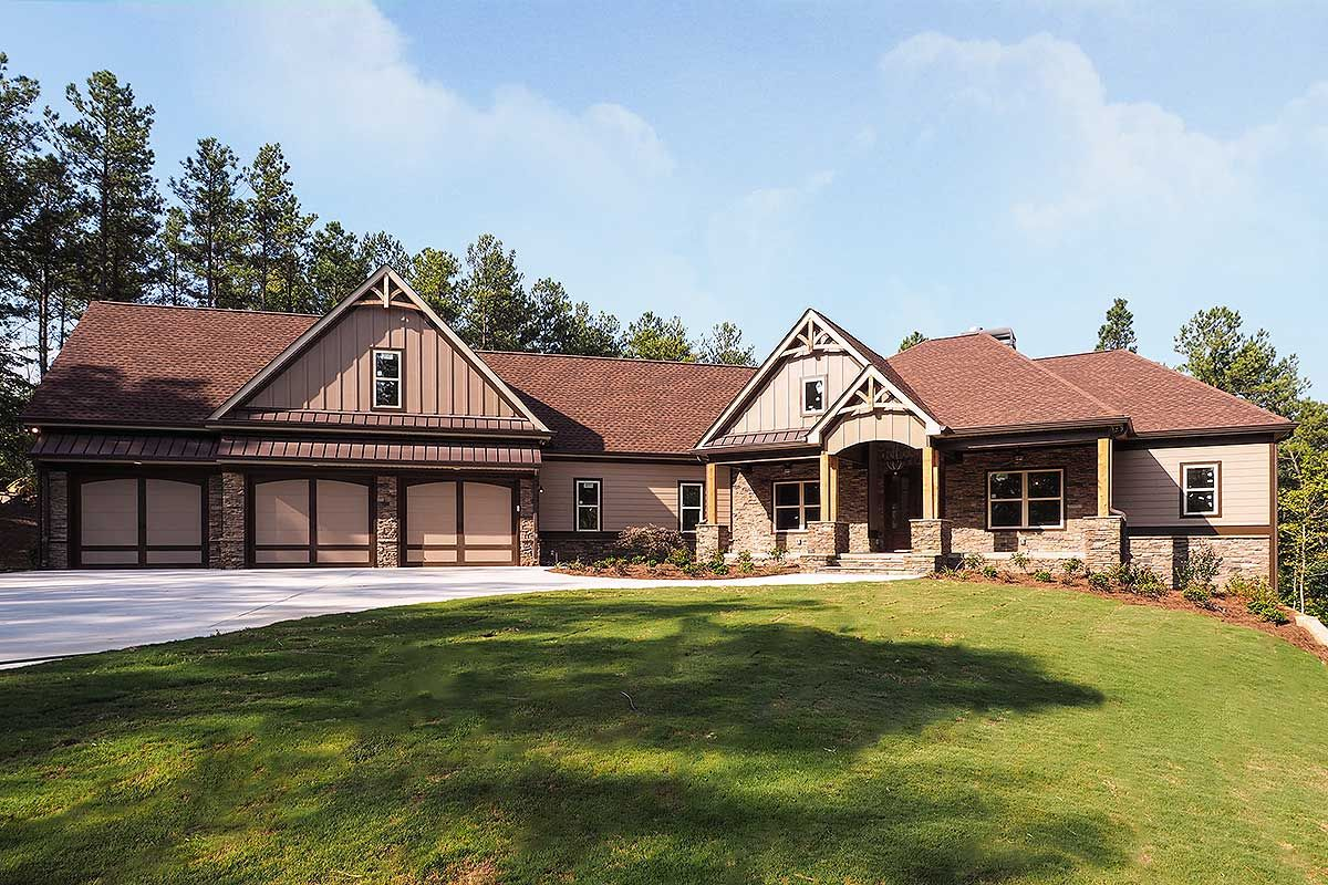 Plan 36075dk Craftsman House Plan With 3 Car Angled Garage Craftsman House Craftsman House Plans Garage House Plans