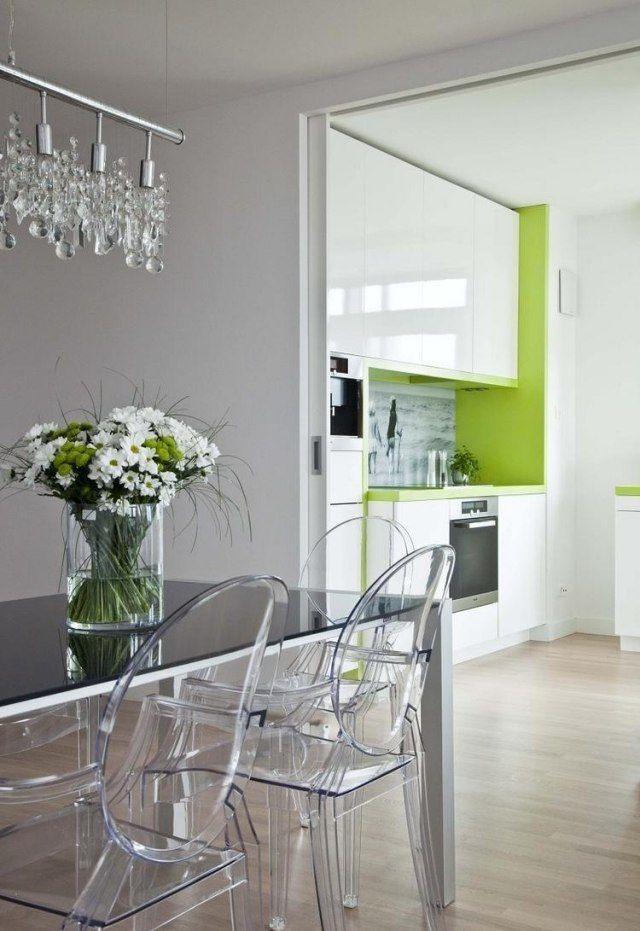 weiße küche hochglanz grüne akzente spritzschutz fotomotiv Living