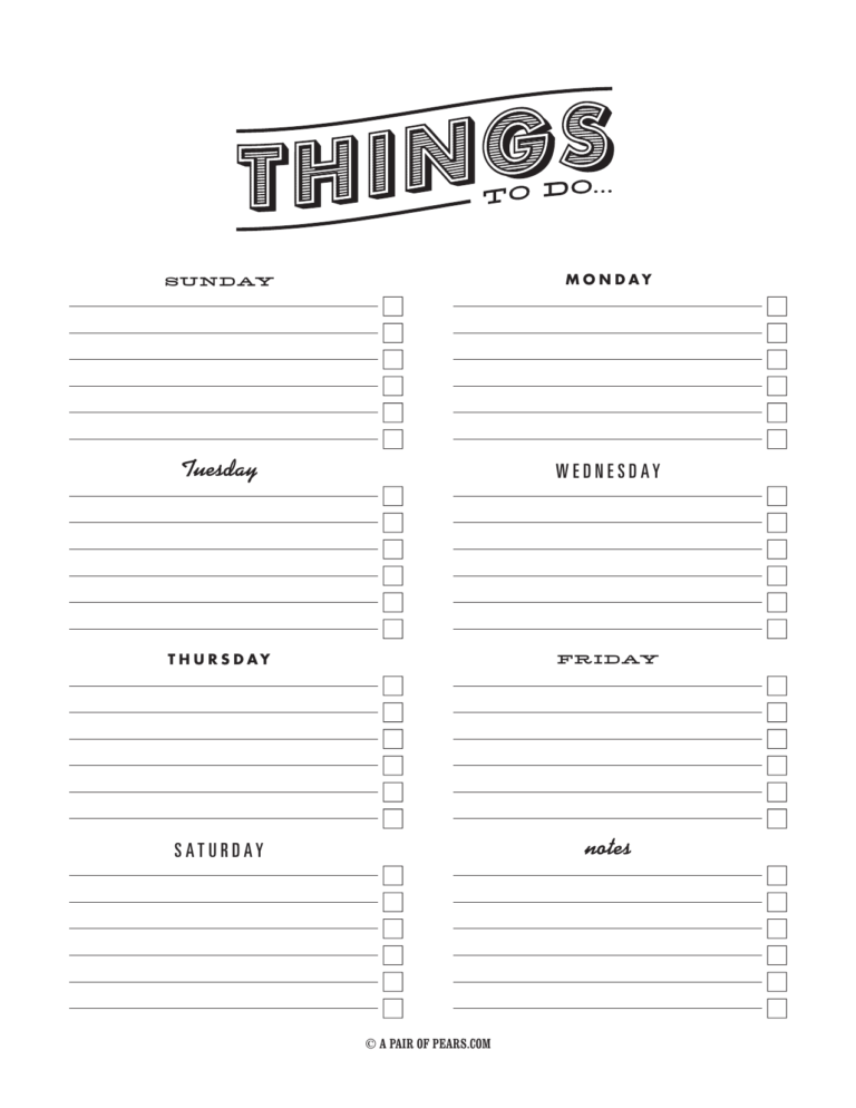 Download Weekly Checklist Template Excel Pdf Rtf for