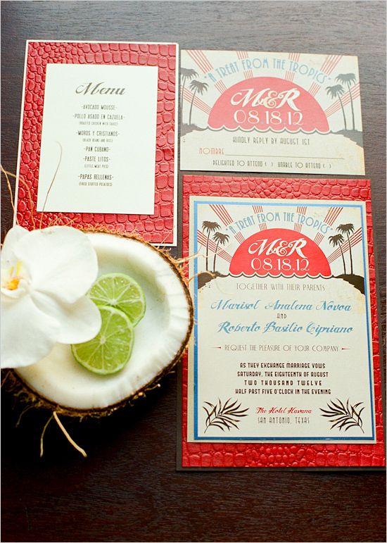 tropical wedding invite via @Judy Clark chicks
