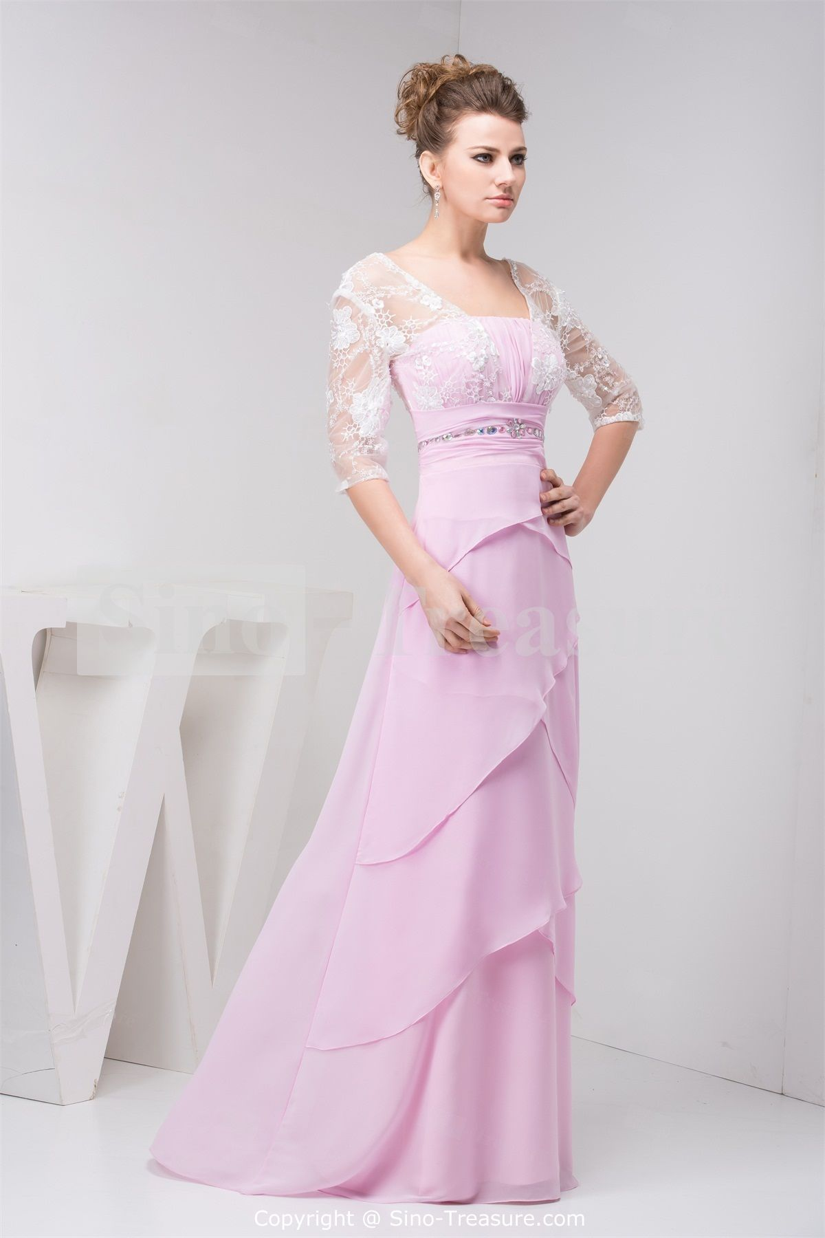 Light Lilac Wonderful Floor-Length Chiffon Prom Dress With 3/4 ...