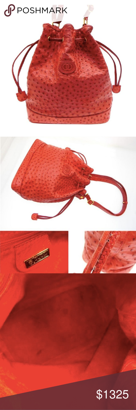 1230f7b420f5 Gucci Ostrich Drawstring Bucket Hobo Date Code/Serial Number: 001 261 0792  Made In