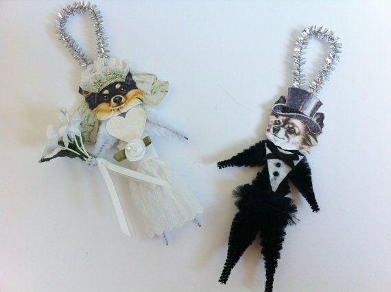 Chihuahua pelo lungo sposa e sposo matrimonio stile vintage ciniglia ornamenti set di 2