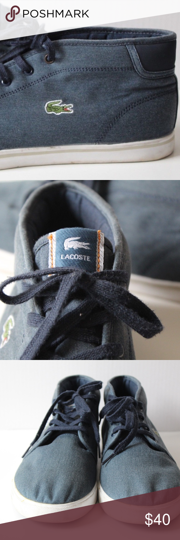 00f5acfcd6643 LACOSTE Sport Mens Ampthill Chukka Sneakers LACOSTE Sport Mens Ortholite  Ampthill Chukka Sneakers canvas light yellowing scuff please see pics.