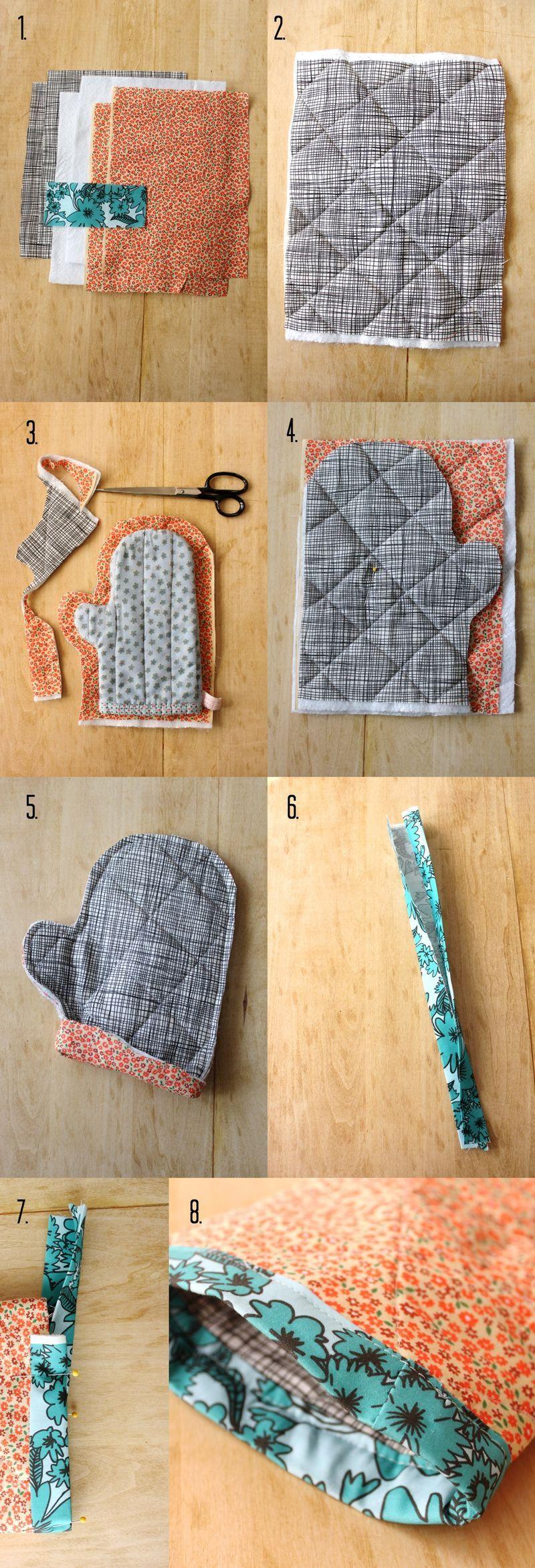 Patrón de costura Vintage cómo hacer un par de Shabby Chick Horno Guantes acolchado.