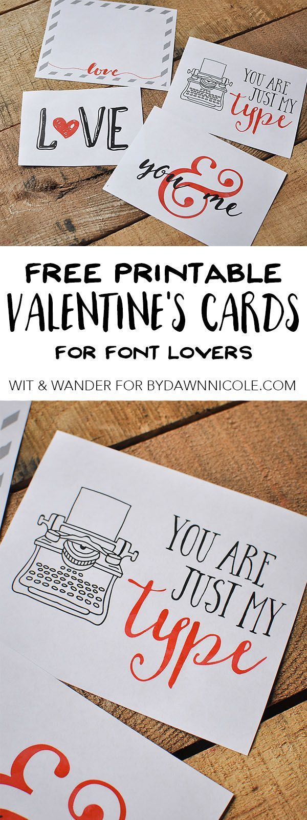 Free Printable FontLovers Valentines Day Cards  Dawn nicole