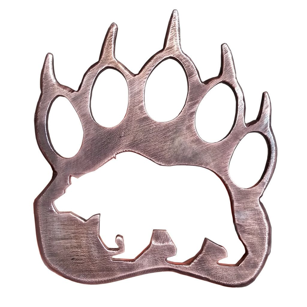 Wooden Grizzly Bear Paw Print Pendant