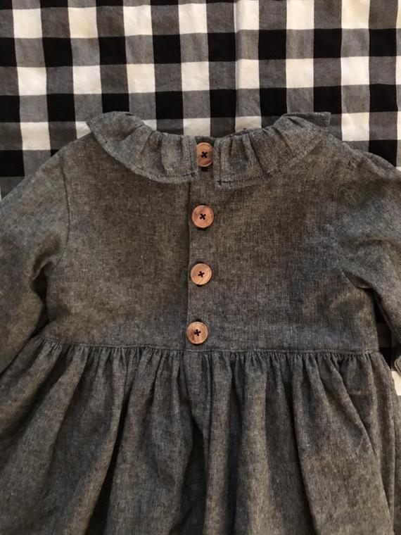 Girls Gray Linen Dress, Girls Linen Dress, Gray Linen Dress