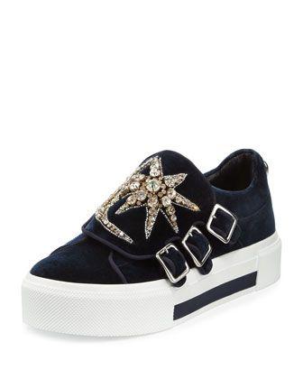 Triple Monk Velvet Sneaker W Jeweled Moon Star Navy Silver Velvet Sneakers Velvet Platform Sneakers Velvet Shoes
