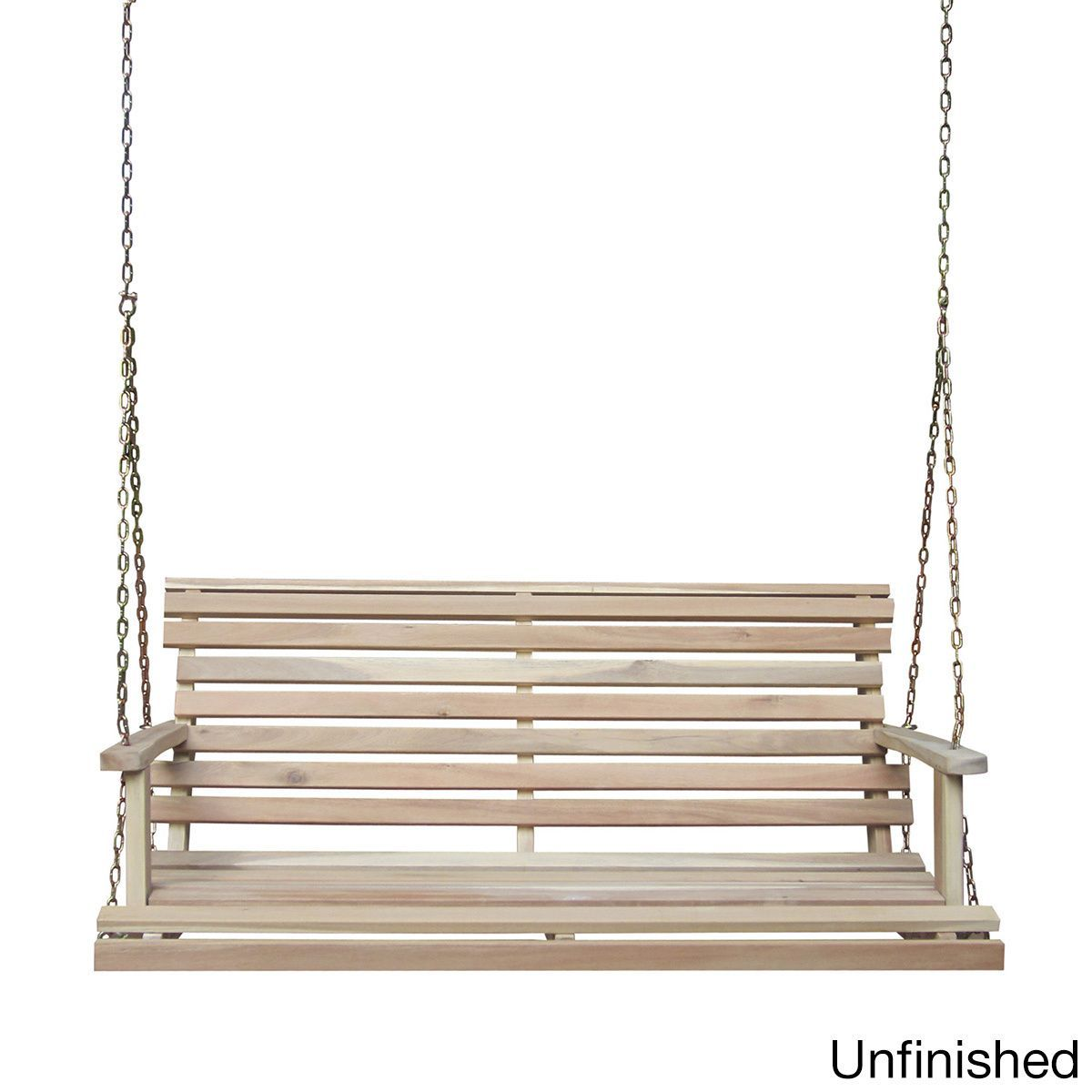 Acasia wood bench swing with chain unfinished grey metal sw