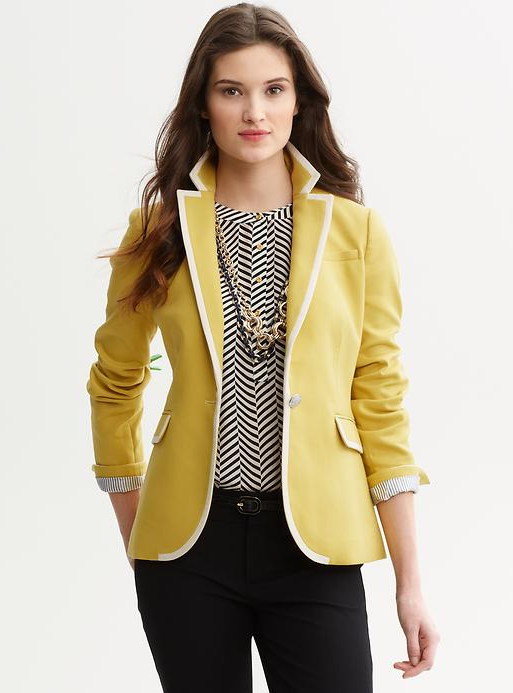 Today's Coveted Working Look: Tipped Blazer in Gold from Banana Republic
