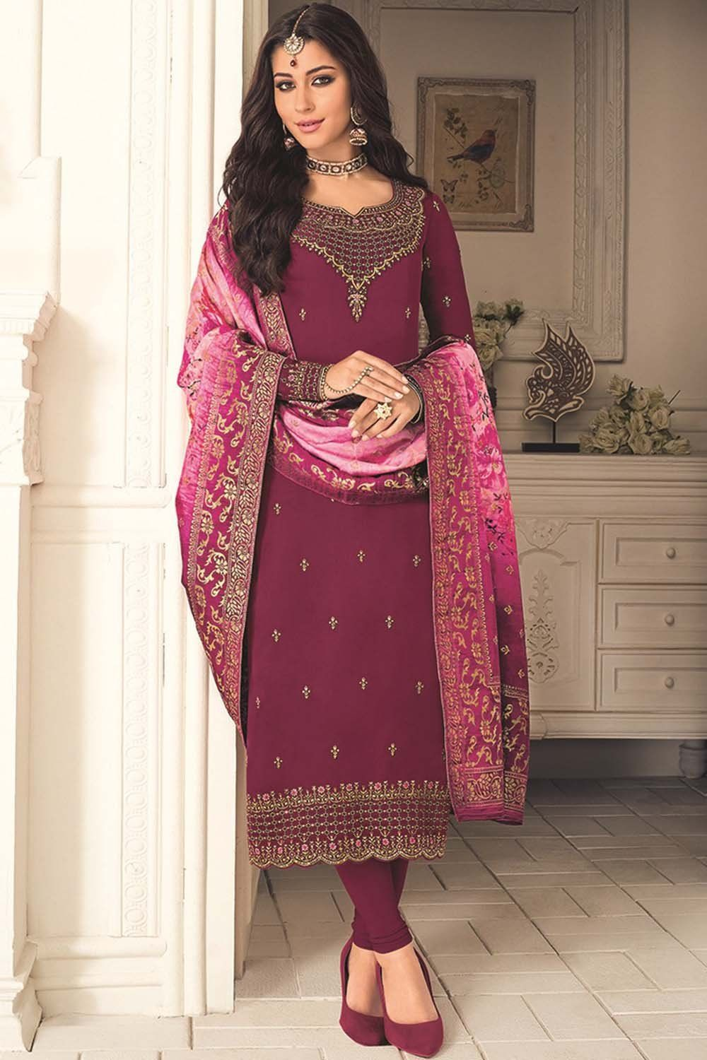 Faux Georgette Embroidered Salwar Kameez In Wine In 2020 Clothes For Women Festival Wear Churidar