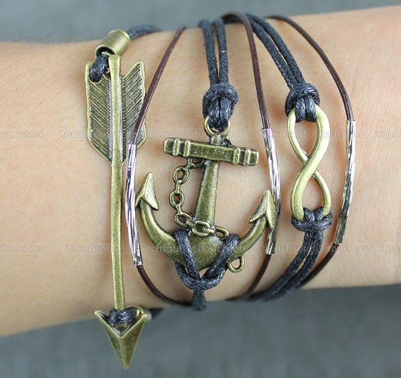 Braceletantique bronze infinity braceletanchor by itouchsoul, $5.99
