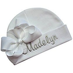 d9472b6b3d1 Personalized Embroidered Baby Girl Hat With GROSGRAIN BOW with CUSTOM NAME  (White Hat   White Bow)