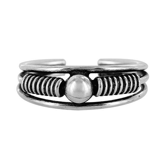 Plus Size Sterling Silver 6mm wide and 4mm Round Ball Toe Ring image