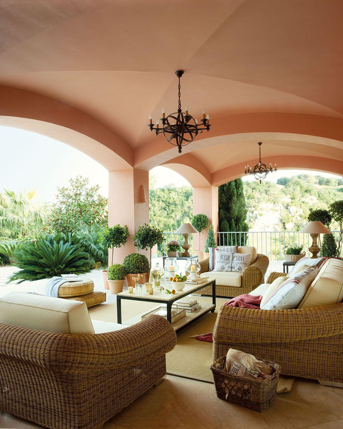 00315146 Zona De Estar En El Porche Con Muebles De Exterior De  # Cojines Para Muebles