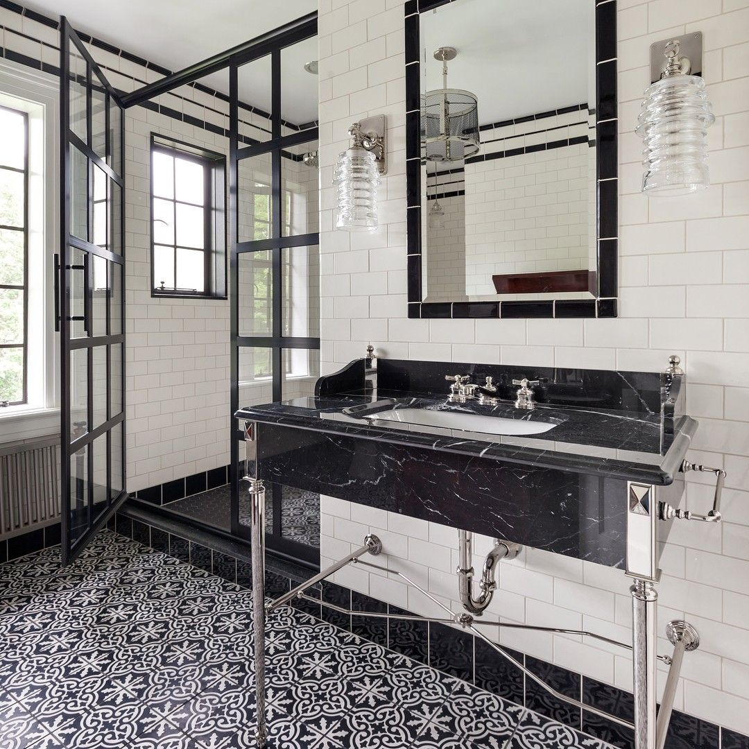 GridscapeR Series Factory Window Pane Shower Door Featuring In Industrial Modern Farmhouse Bathroom White
