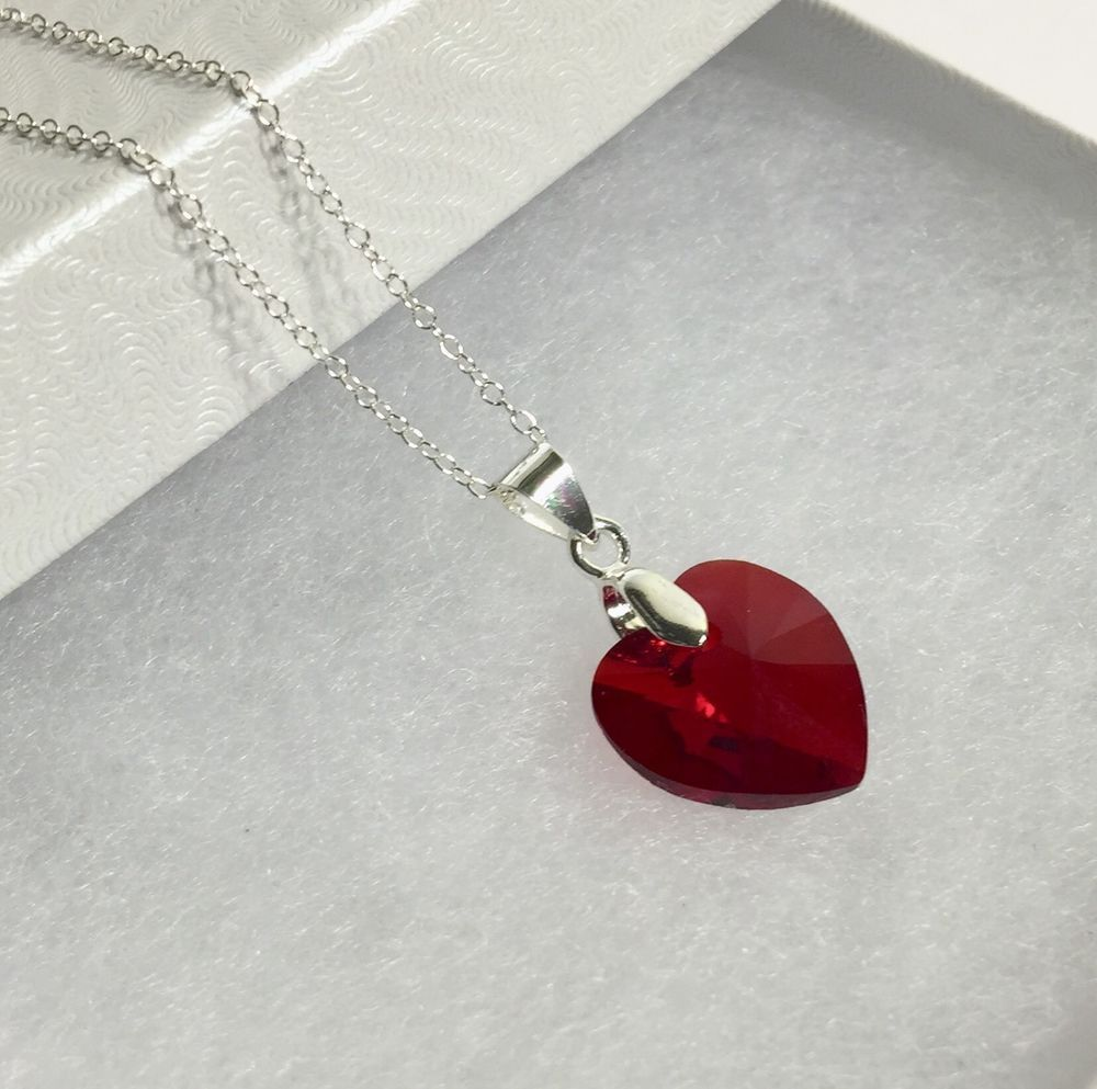 d3bb6352c Swarovski Crystal Ruby Red Heart 14 mm Pendant 925 Sterling Silver Necklace  18