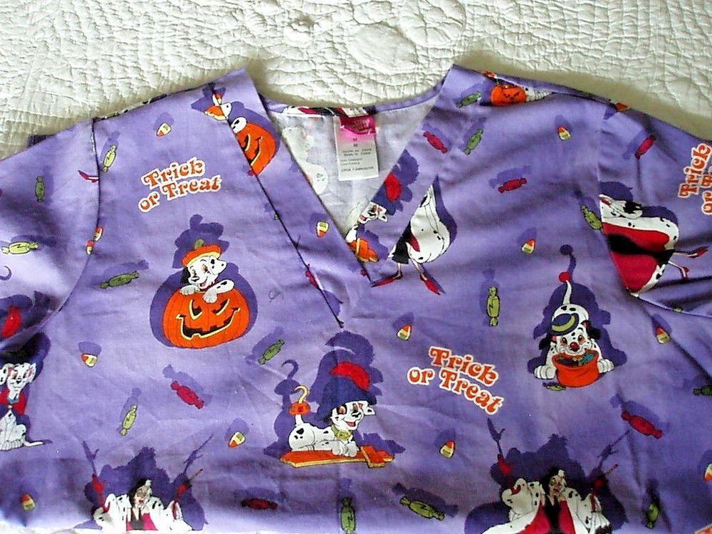 fca55325389 World of Disney Scrub Top Halloween Trick Treat 101 Dalmatians Size ...