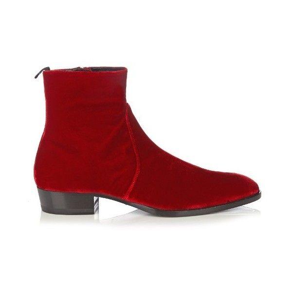 Saint Laurent Hedi velvet ankle boots