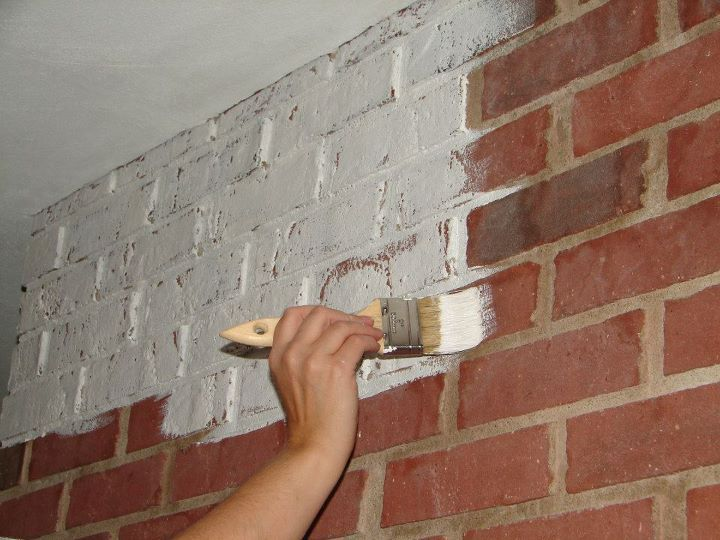 Chalk Paint Gives A Brick Fireplace And Update Red Brick