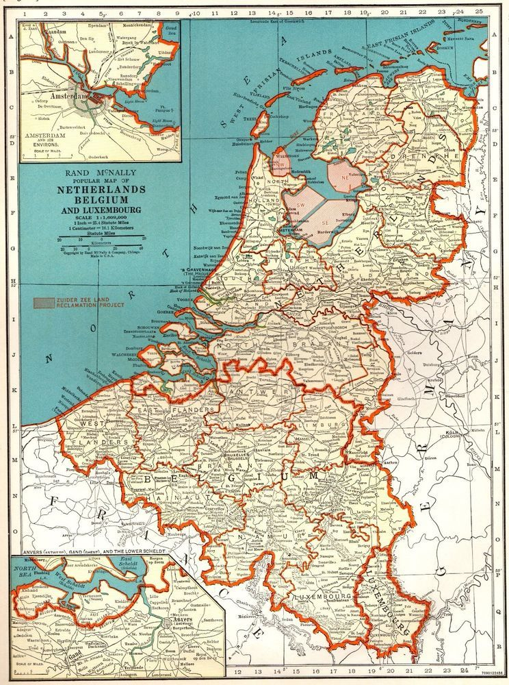 Map Of France And Holland Belgium.Details About Vintage Map Of France Belgium And The