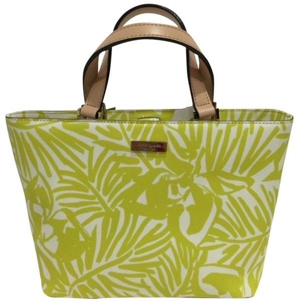 110 Liked On Polyvore Featuring Bags Handbags Beach Tote Pre Owned White Kate Spade Handbag And Lime Green Purse