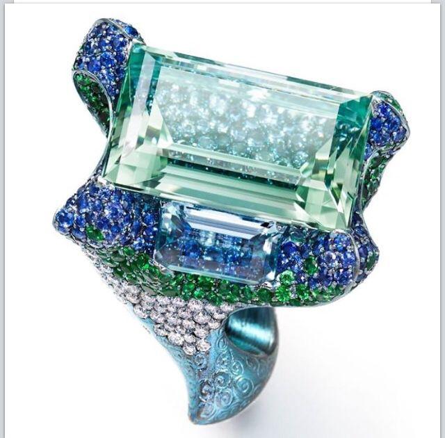 Aquamarine, diamond, Tsavorit , and sapphire ring by wallace Chan