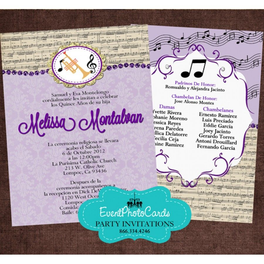 Music Band Quinceanera Invitations - Trump | Band Music Sweet 15 ...