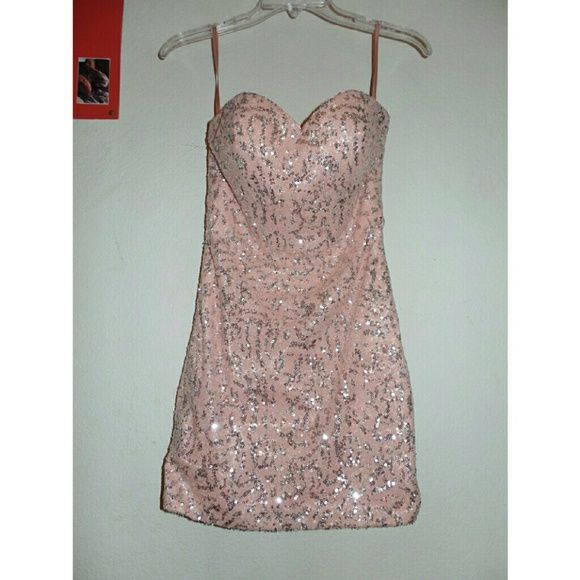 Prom/homecoming dress Strapless Light pink mini dress with silver detailing  Only Worn Once Dresses Strapless