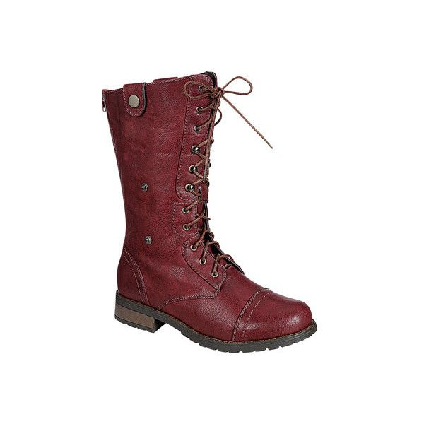 Women's Reneeze Alice-08 - Burgundy Combat Boots ($36) ❤ liked on Polyvore featuring shoes, boots, burgundy, back zip boots, calf length boots, military style combat boots, military combat boots and lined combat boots