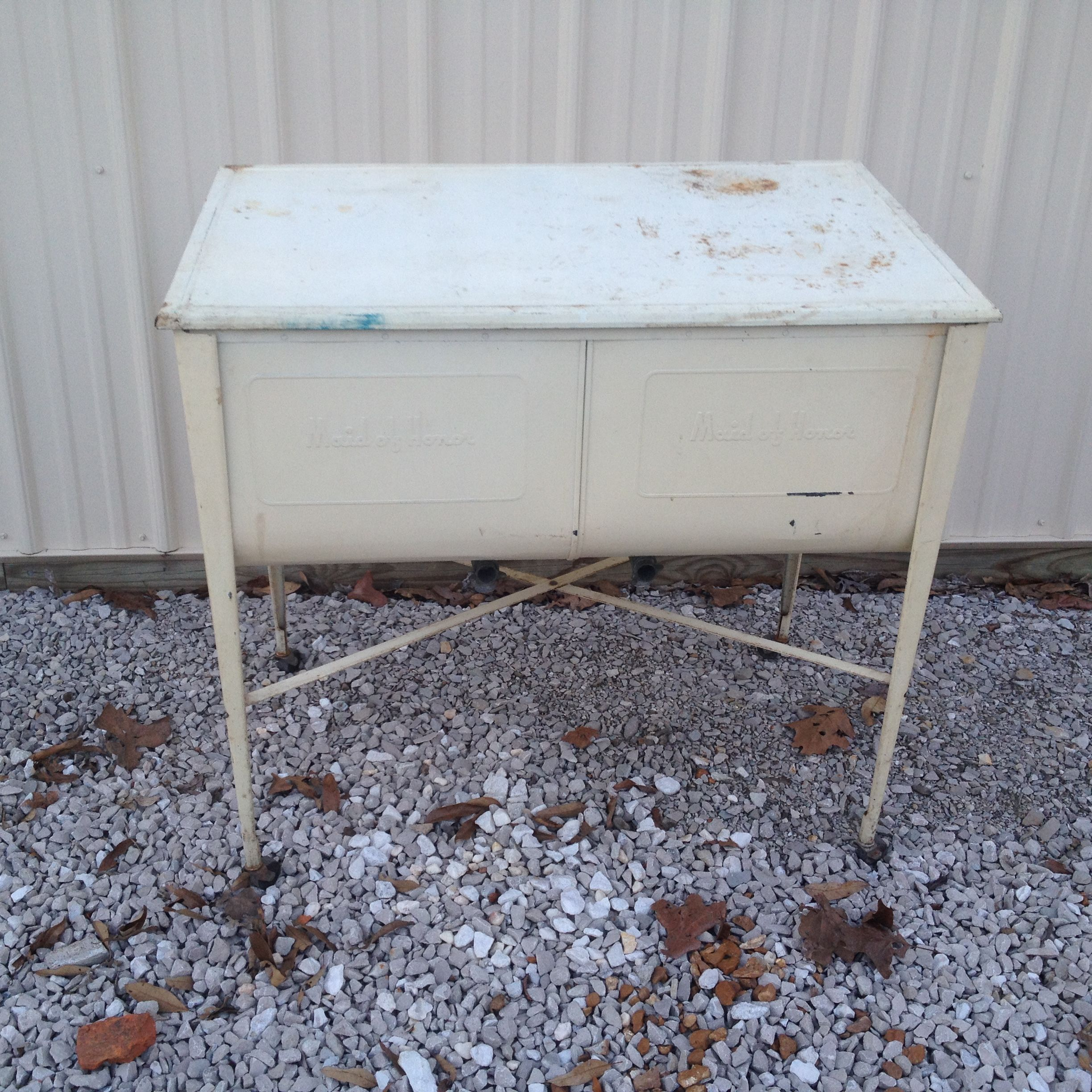 Vintage Primitive Maid Of Honor White Double Wash Tub Wheels Lid Galvanized Wash Tubs Vintage Eclectic Tub