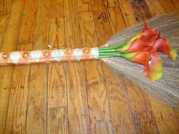 DIY Broom : Wedding Brooms Ceremony Diy Gold Orange
