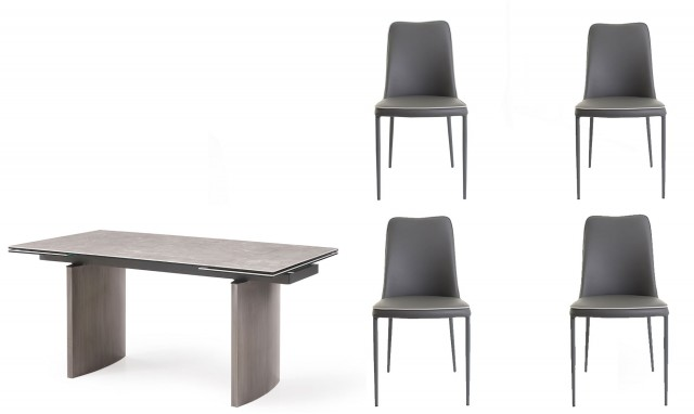 Barcelona 160cm Extending Dining Table And 4 Anton Chairs In